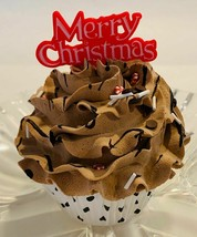 Fake Christmas Cupcake Chocolate Red - fake home decoration prop - $8.41