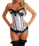 Cute Black and White Satin Polka Dot Corset wit... - $31.99