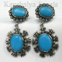 Victorian 3.16ct Rose Cut Diamond Turquoise Wedding Women's Earrings Chr... - $527.03