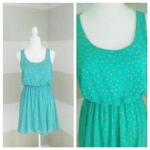 Lush Women's Aqua with Orange Dots Elastic Waist Dress Size M Lined Slee... - $10.53