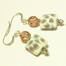 Mauve and Gray Glass Earrings - $14.95