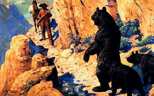 Bears in the Path 22x30 Hand Numbered Ltd.Edition Western Cowboy Art Print Leigh