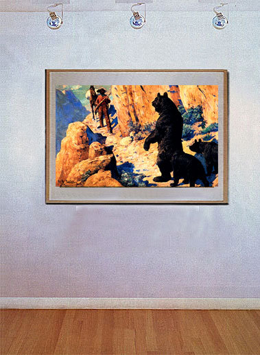 Bears in the Path 22x30 Hand Numbered Ltd.Edition Western Cowboy Art Print Leigh image 2
