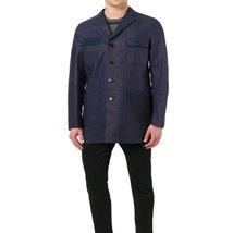 Notch collar Navy Blue Leather Coat