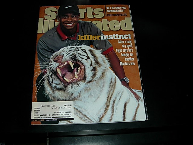 Primary image for April 1998 Sports Illustrated Golf Tiger Woods, Peyton Manning, Michael Finley