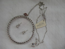 Mestige New Swarovski Elements Bracelet Earrings Necklace Crystal Silver Set - $58.79