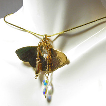 Gingko Leaf Necklace with Gold and Crystal Embe... - $24.95