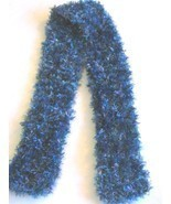 Girls Knitted Blue and Green Boa Style Knitted Scarf  - $5.99