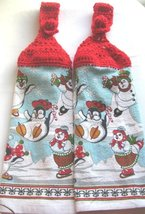 Christmas Crocheted Top Hanging Kitchen Towel - Penguins - $6.00