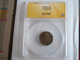 1909, Lincoln Cent , ANACS , AU 58 - $20.00