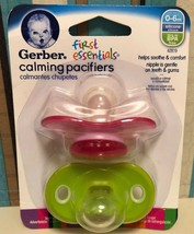 Gerber First Essentials Calming Pacifiers 0-6mo 2 per Pack Pink Green BP... - $27.00