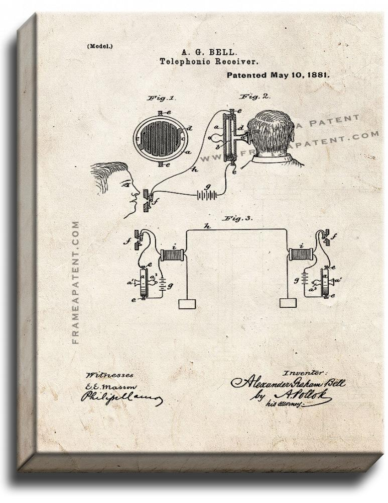 Primary image for Telephonic Receiver Patent Print Old Look on Canvas