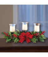 Holly Christmas Centerpiece w/Candle Holders  - $29.91