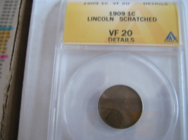 Lincoln Penny , 1909 , ANACS , VF 20 , Scratched - $14.00