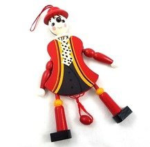 Vintage Wood Marionette Christmas Ornament Pull String Puppet Holiday De... - $19.71