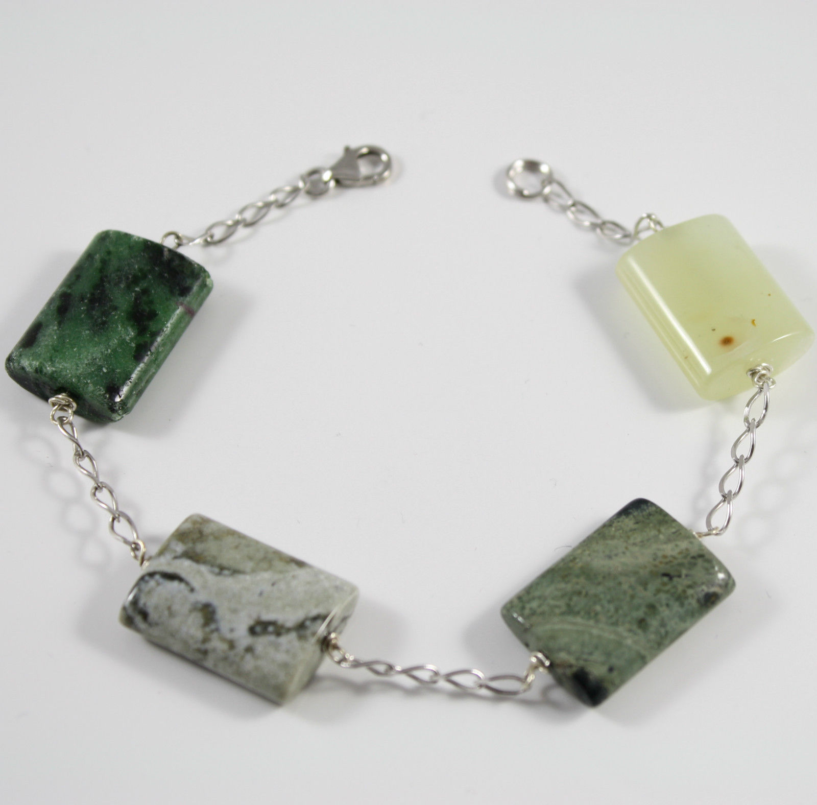 Bracelet in Sterling Silver 925 Rhodium with Green Jade Rectangles Faded