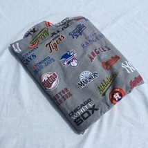 MLB Baseball Team Logos Grey Twin Flat Sheet Pottery Barn Teen Cotton  - $29.02