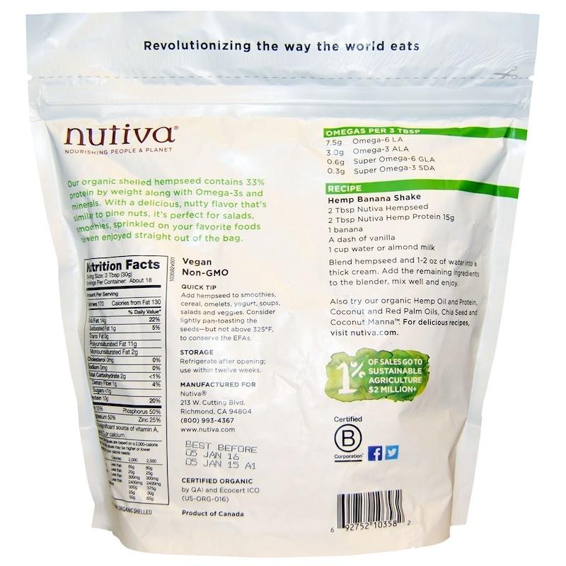 Nutiva, Organic Hemp Seed, Raw Shelled, 19 oz (539 g)