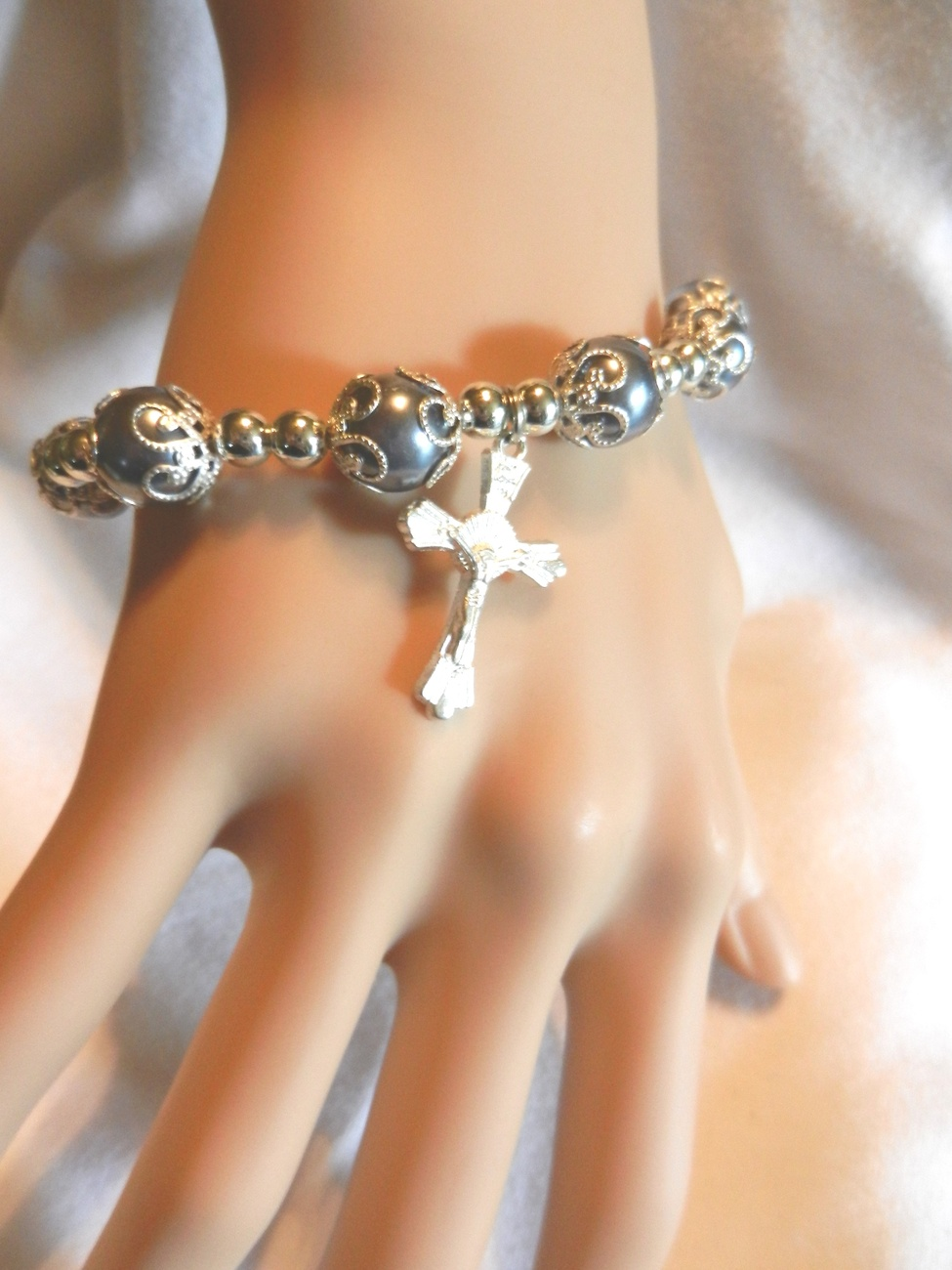 Primary image for New Crucifix Cross Dangle Fancy Style Charm Stretch Beaded Bracelet