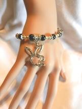 NeW Bunny Bracelet,  Playboy Bunnies, Playgirl Charm Beaded Stretch Bracelet - $5.99