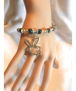 NeW Bunny Bracelet,  Playboy Bunnies, Playgirl Charm Beaded Stretch Brac... - $5.99