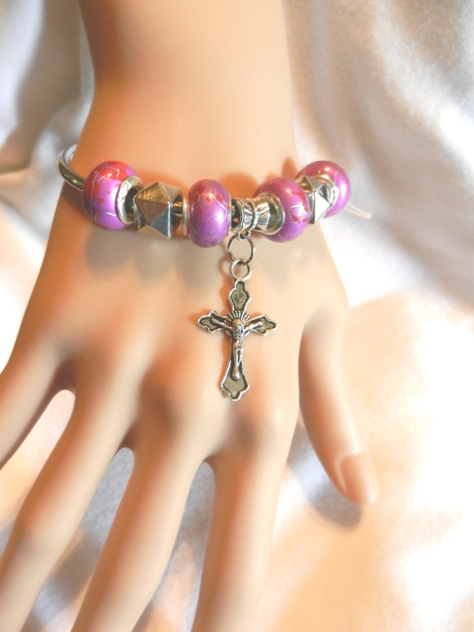 Primary image for NeW Religious Christian Catholic Crucifix Cross Charm Beads Bangle  Bracelet
