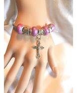 NeW Religious Christian Catholic Crucifix Cross Charm Beads Bangle  Brac... - $4.99