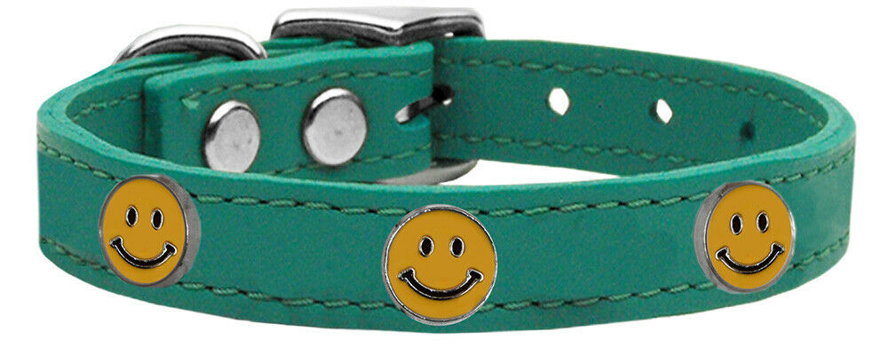 Primary image for Happy Face Widget Genuine Leather Dog Collar Jade 14