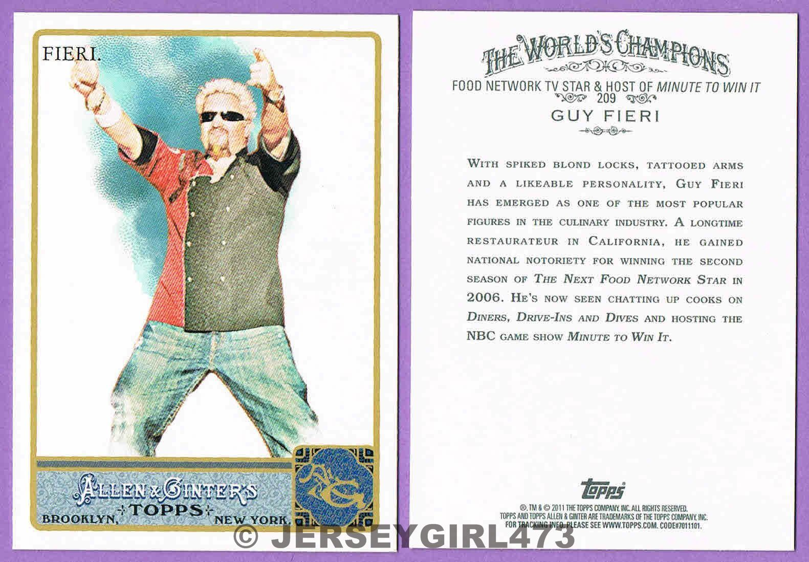 Guy Fieri 2011 Topps Allen & Ginter's Celebrity Card #209 ~ MINUTE TO WIN IT