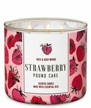 Bath & Body Works Strawberry Pound Cake 3 Wick Scented Candle 14.5 oz - $27.10