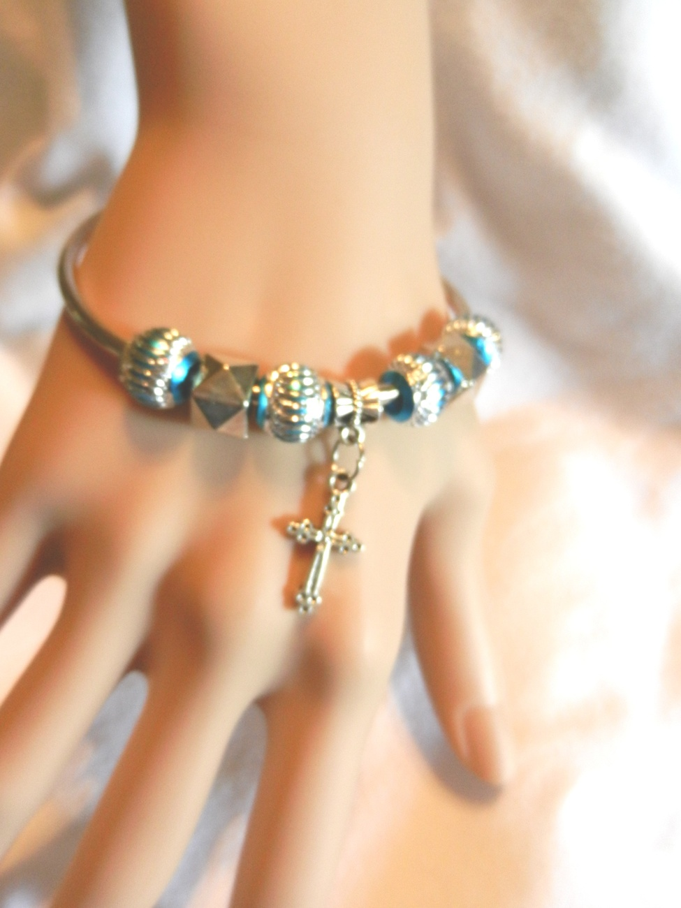 Primary image for NeW Angelic Cross Charm European Beaded Christian Catholic Bangle Bracelet
