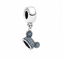Pandora Disney Parks Charm Mickey Mouse Mickey Sparkling Ear Hat Blue 79... - $30.48
