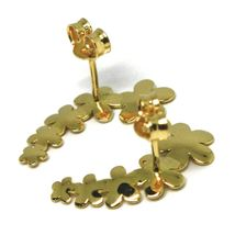 Drop Earrings Yellow Gold 18K, Row of Flowers, Daisies, Gold 750, Curve image 3