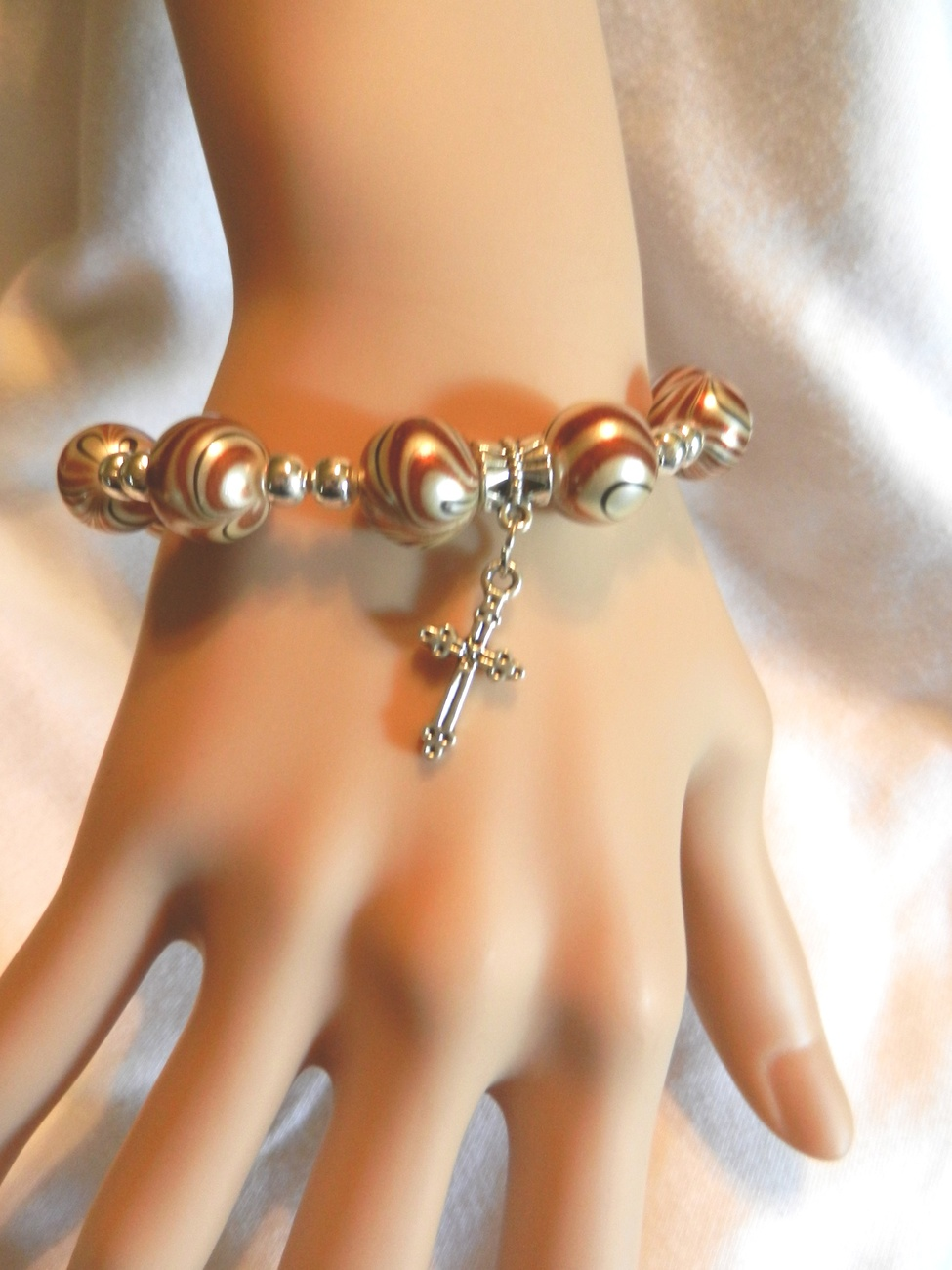 Primary image for New Charm Bracelet With  Cross Spiral Beads Stretch Bracelet