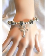 "NeW Silver ""Faith"" and Cross Dangle  Charm and Bead Stretch Bracelet - $4.99"
