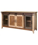 "Madeline Antique Multi Color 70"" Rustic Sliding Barn Door TV Stand Console - $975.15"
