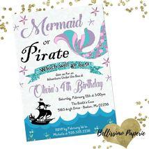 Mermaid or Pirate Birthday Invitation Personalized Custom Glitter Lavend... - $0.99