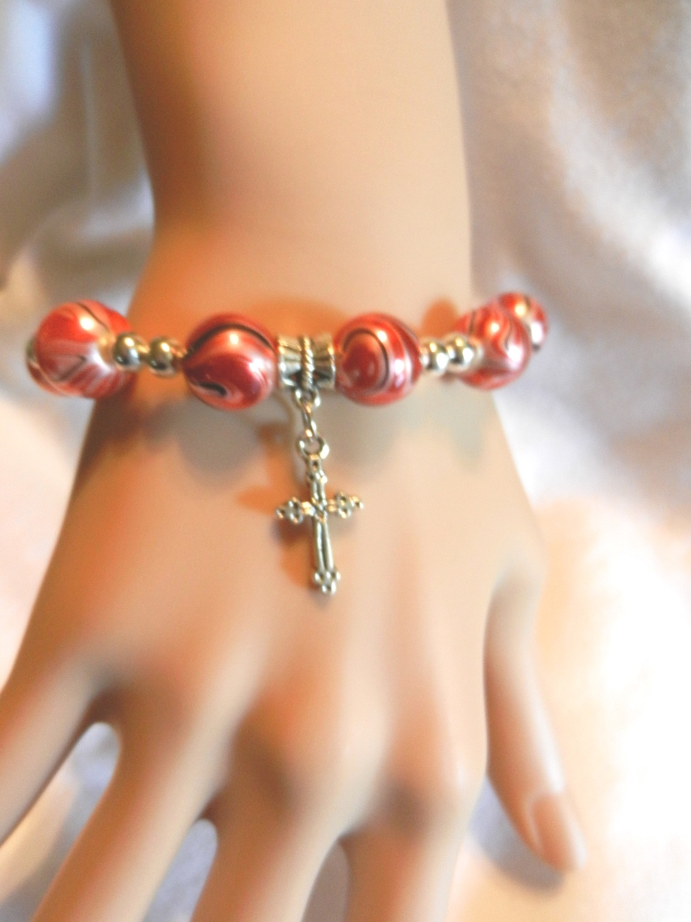 Primary image for New Red Swirl Charming  Stretch  Beads Cross Crucifix Religious  Bracelet