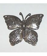 Vintage Filigree Silver Tone Butterfly Brooch - $9.99