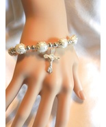 Religious Catholic Christian Stretch Faux Pearls Beads Cross  Bracelet  - $4.99
