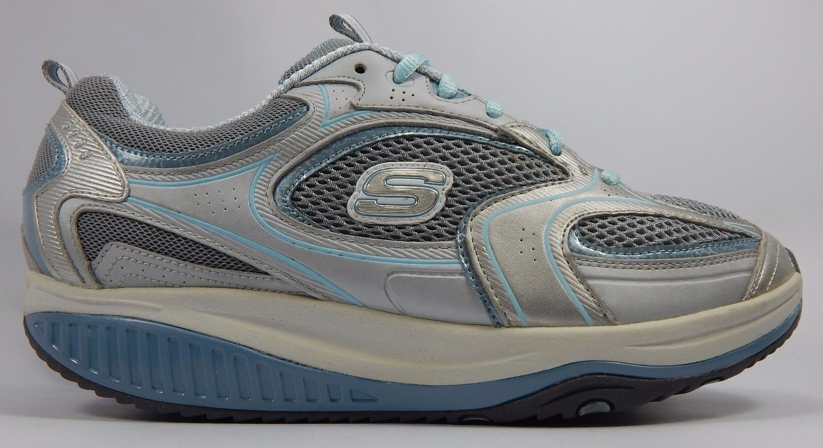 Skechers Shape Ups Women's Fitness Shoes Size US 10 M (B) EU 40 Silver Blue