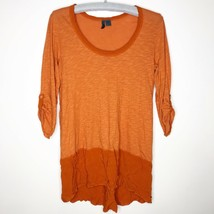 Left of Center Anthropologie Shirt Womens Size Small Orange Blouse Top D47 - $19.27