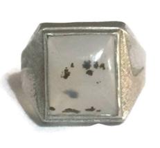 Vintage Agate Southwest Sterling Silver Mens Men Ring Size 10.75  - $29.99
