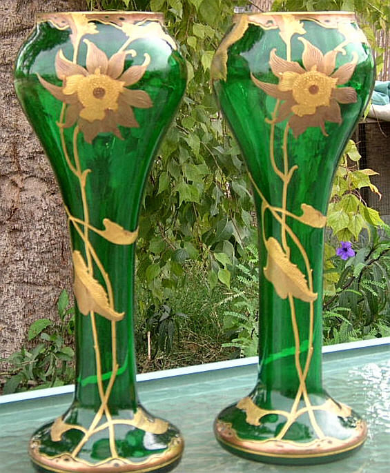 B.OFFER ANTIQUE PAIR ART GLASS VASE GOLD HP Fritz Heckert BOHEMIAN MOSER ERA  - $4,749.99