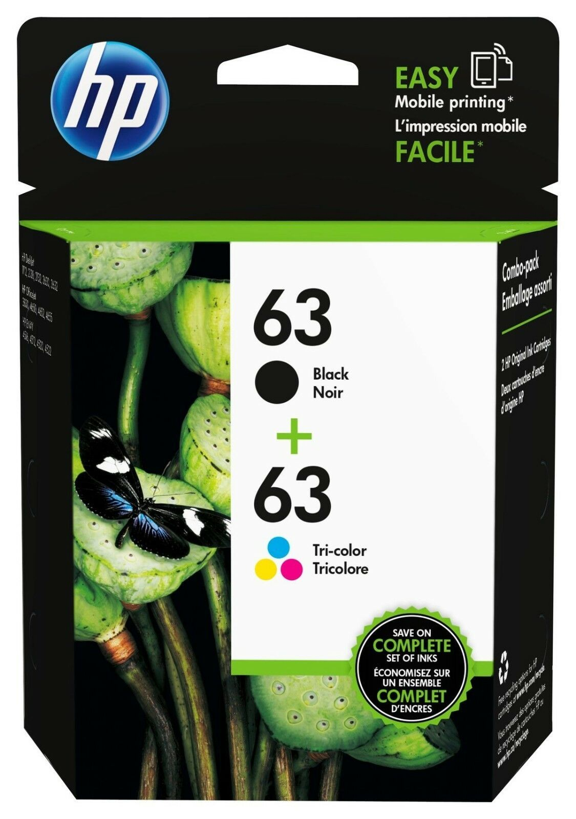 Primary image for HP 63 Black/Color Ink Cartridges, LOR46AN, 2/Pack