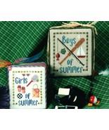 Summer Days boy girl cross stitch chart Erica M... - $3.00