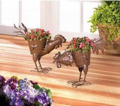 10017250 Summerfield Terrace Metal Iron Strutting Rooster Planter - $14.80