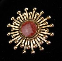 Vintage Goldstone brooch / starburst pin / Vitality and Energy / womens ... - $85.00