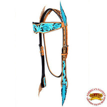 Western Horse Headstall Tack Bridle American Leather Feather Hilason U-9-HS - $74.20