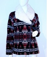 $328 ELLA MOSS TRIBAL PRINT FAUX FUR COLLAR ZIP WINTER JACKET COAT BLACK... - $179.95